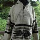 Guatemala Wool  Hooded Parka, Coat Jacket L  from Momostenango