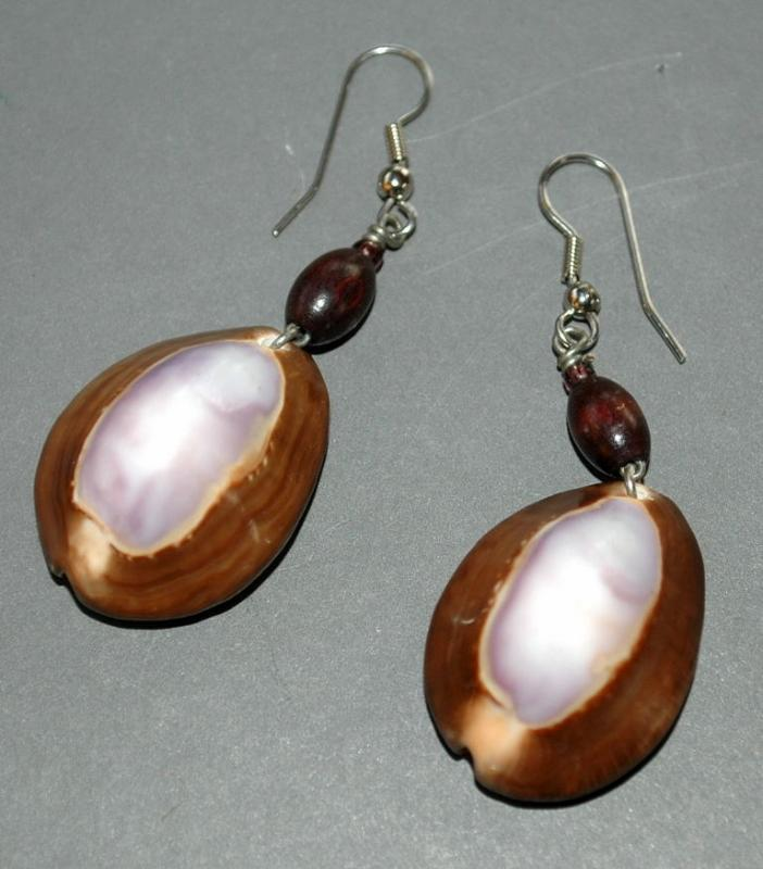 Hand crafted cowrie shell earrings, purple and brown
