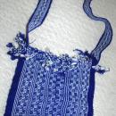 Blue White Guatemalan Cotton Shoulder Bag  from the Sierra de las Minas Biosphere Reserve, Hand Woven