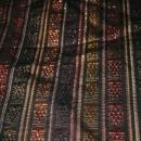 Guatemalan Mayan Table Runner Hand Woven  Black, Brown, Copper with Metallic Threads   long fringe