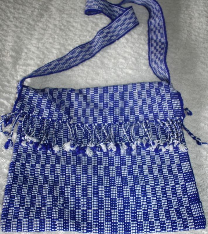 Blue White Guatemalan Cotton Shoulder Bag  from the Sierra de las Minas Biosphere Reserve, Hand Woven  Free Shipping