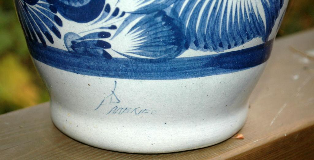 Signed Talavera Bottle Vase  Hand Painted with  Cobalt Blue