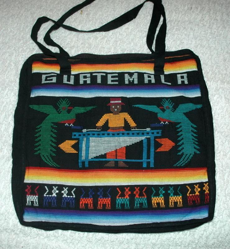 GUATEMALA Souvenir Tote bag  1970's  Hand Loomed Textile  Free Shipping