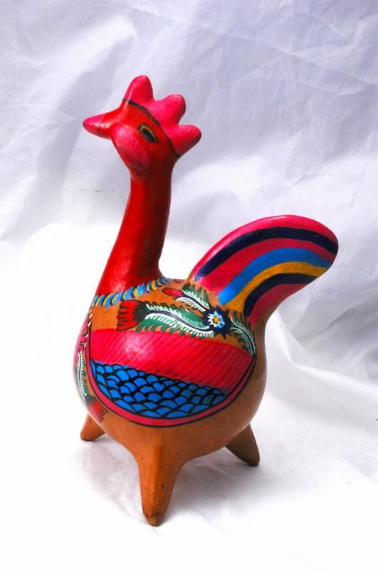 Old Mexico Terra Cotta Red Pottery Painted Chicken