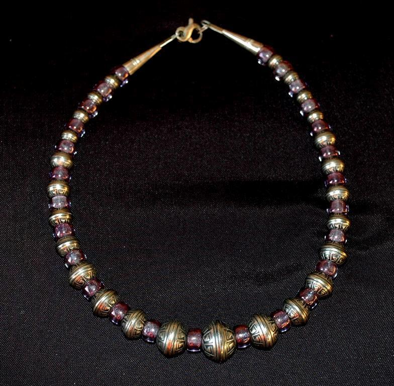 Hopi Indian Heavy Sterling Beads and Amethyst Choker Necklace Native American