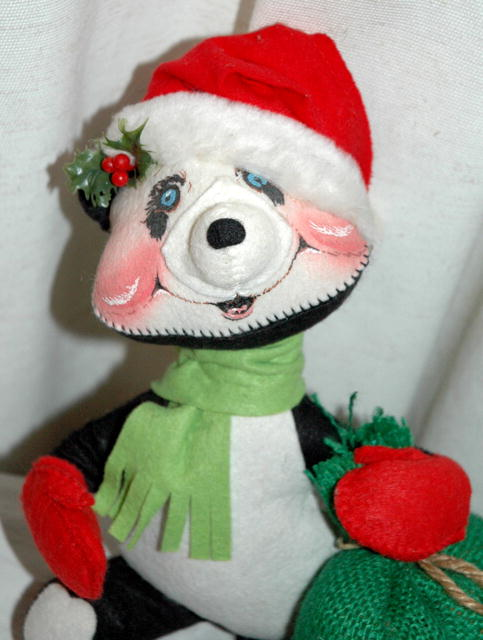 Annalee black & white Santa Bear Doll with Bag