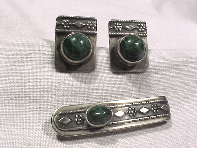 Israel Sterling Sterling & Malachite Cuff links