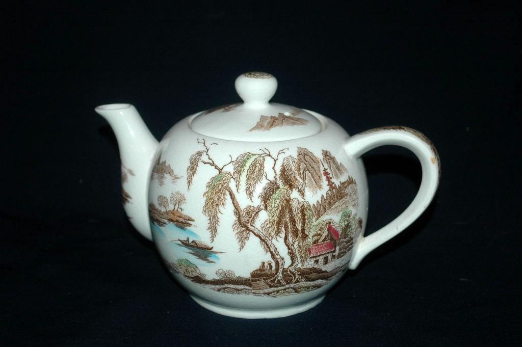 Brown Polychrome Transferware Musical Teapot /  Chinoiserie