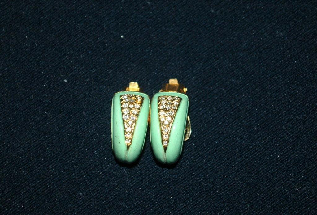 Darling 1/2 circle Green Enamal & Pave Crystal Earrings vintage   Free Shipping