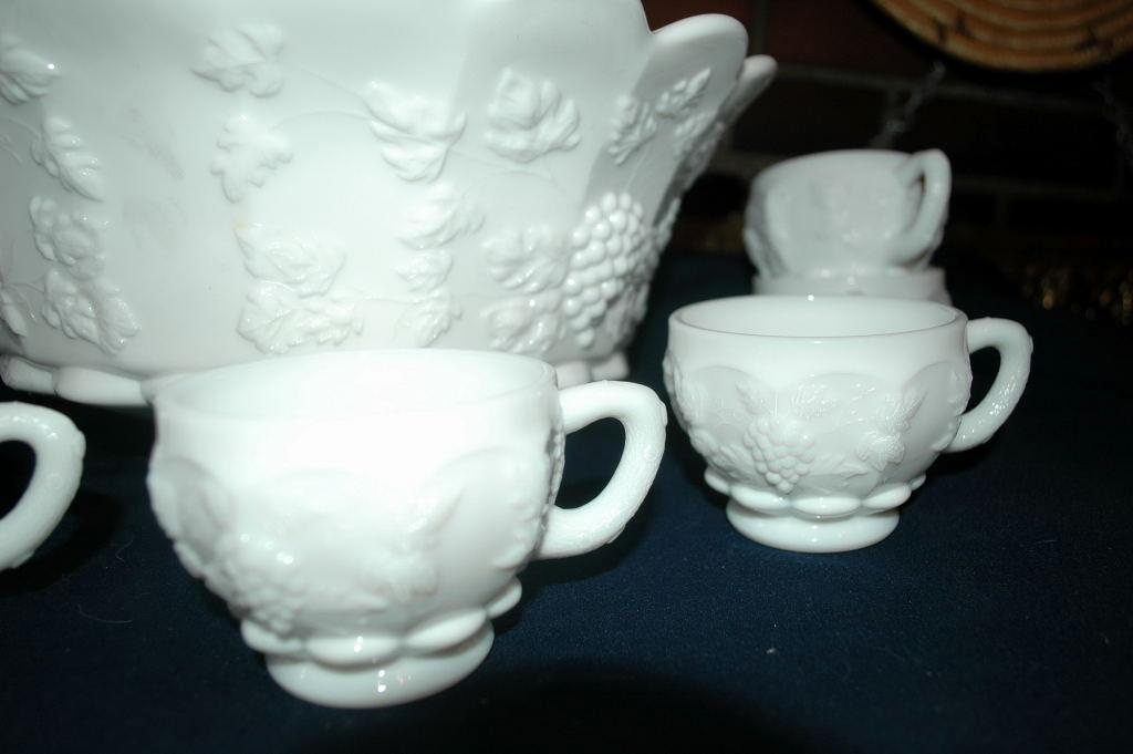 Westmoreland Milk Glass Paneled Grape Punch Bowl and Cups