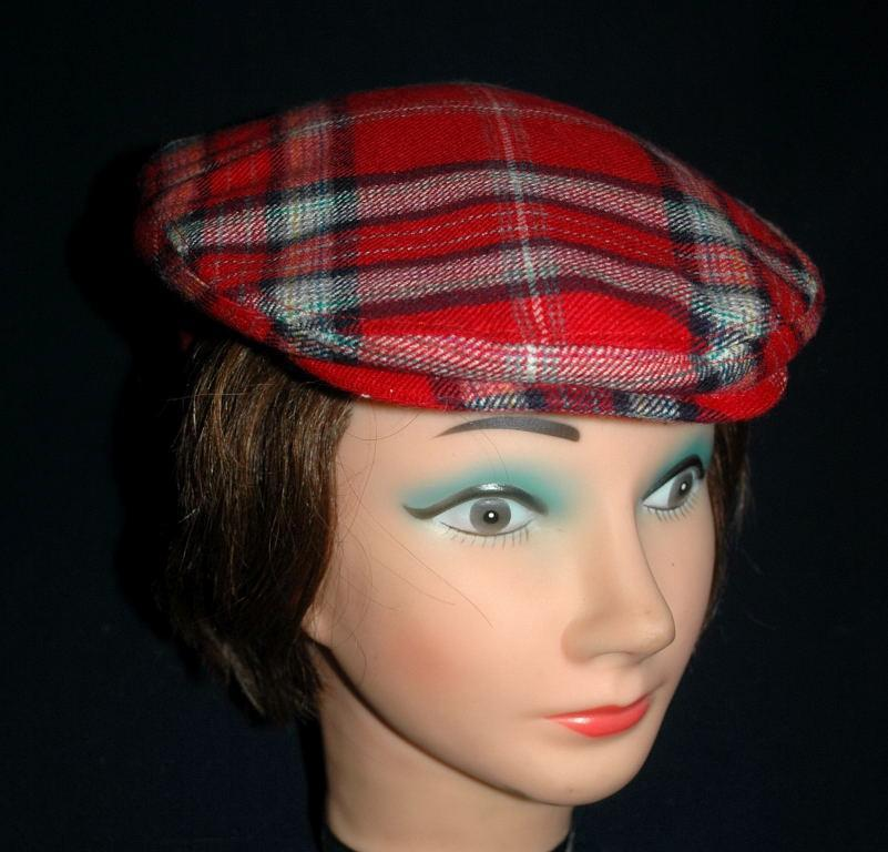 Red Tartan Plaid Flat Cap The Edinburgh Woollen Mill  Pure New Wool