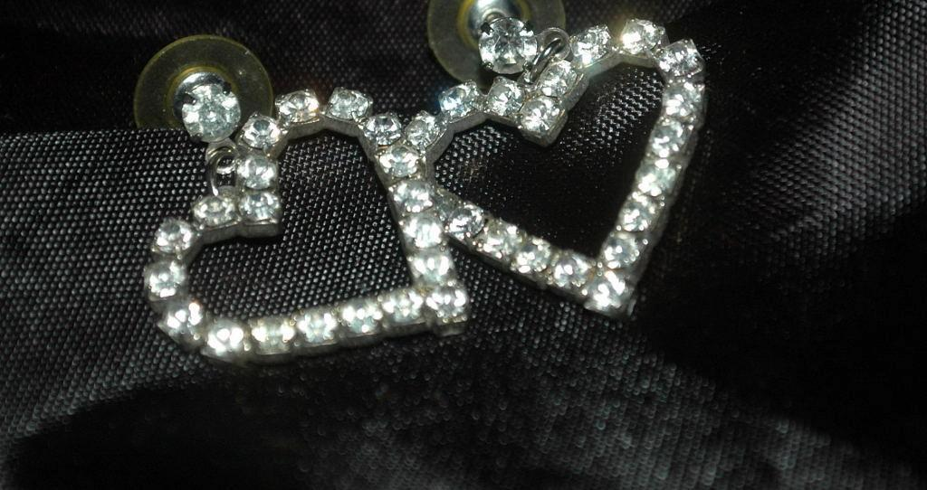 Large White Rhinestone Heart Earrings   Free Shipping