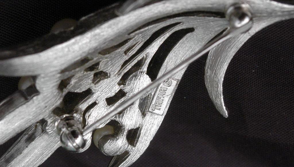 Trifari Pearl Bouquet  Spray Silver Brooch