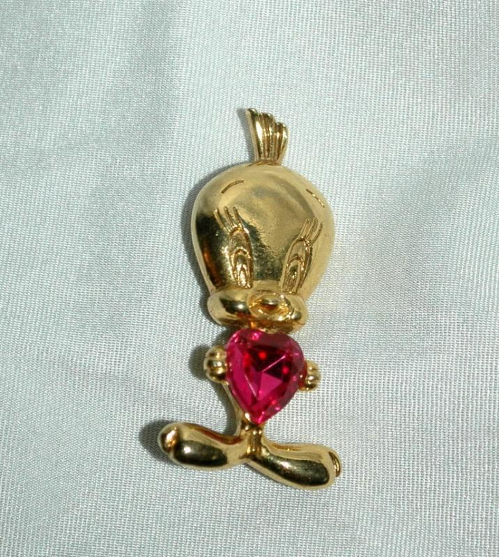 Tweety Bird Gold and  Pink SWAROVSKI Crystal Heart Pin Brooch