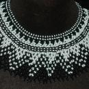 Beaded Collar Necklace of Black White  Czech Glass Seed Beads in a complex pattern