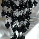 Black Czech Glass Cascading Dangle Earrings  Extra Long