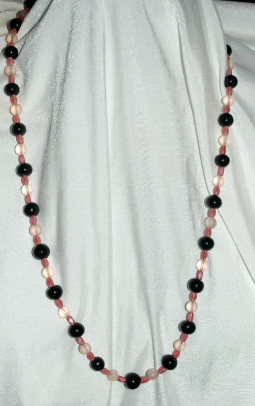 Black & Satin Pink Glass of Czech Beads Continuous Strand