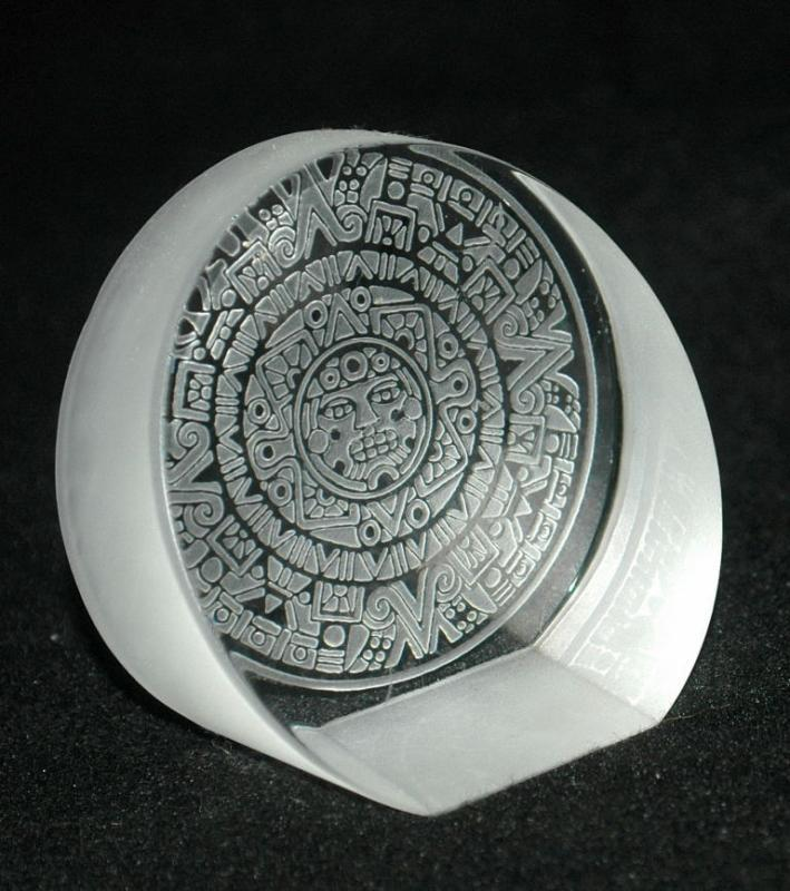 Mexican Aztec Calender Etched Glass Paperweight