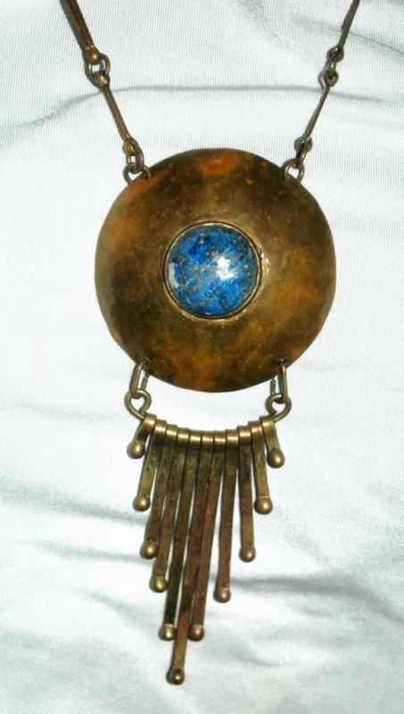 Lapis Lazuli , Tribal, Ethnic Hand Hammered  Brass Necklace Vintage