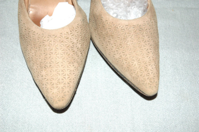 Vintage Beige Pierced Suede Pointy High Heals Pumps