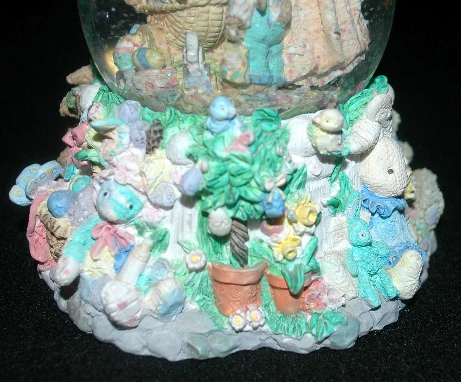 Large Easter Bunny  SnowGlobe, with family and baby in bassinet