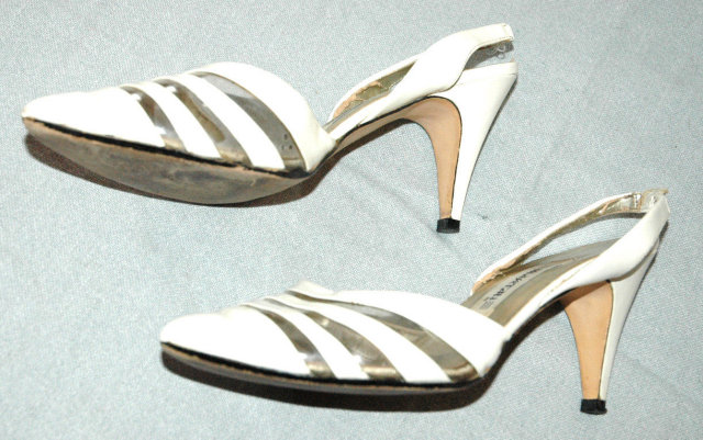 White Leather  and clear acylic slingback pumps by  *PRICE REDUCTION!*