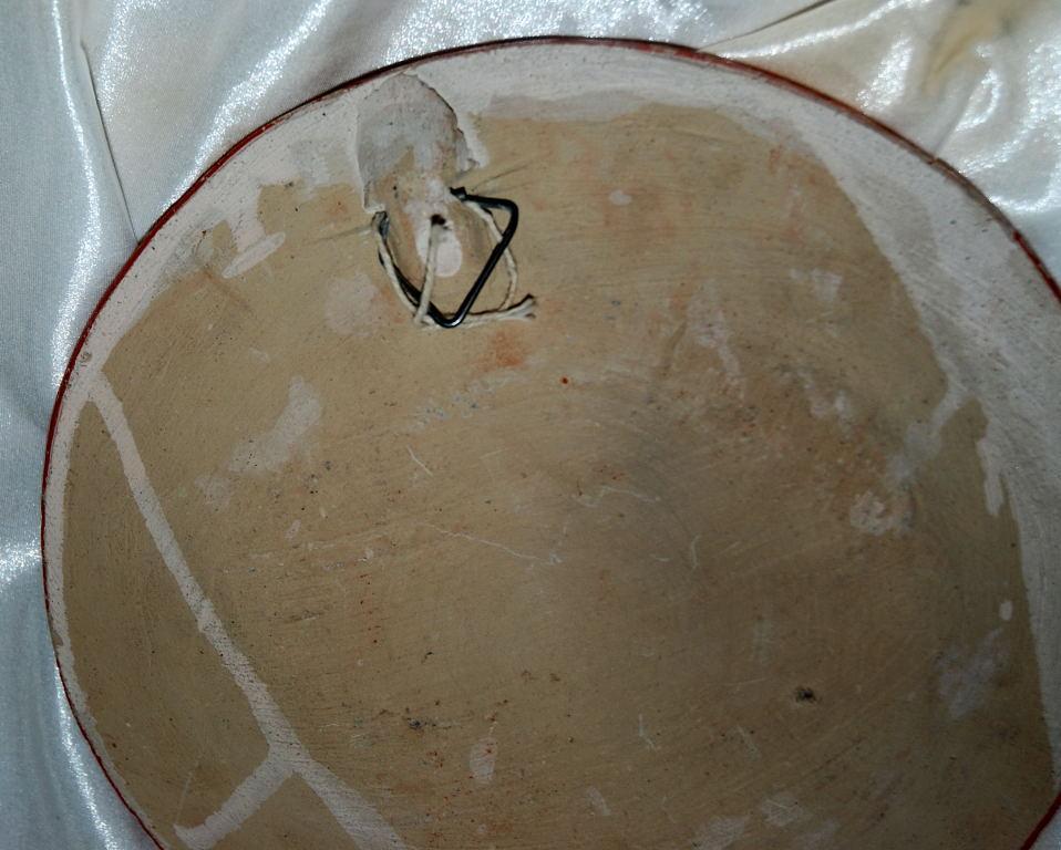 Vintage Mexican Tonala Folk Art Pottery Plate Burnished