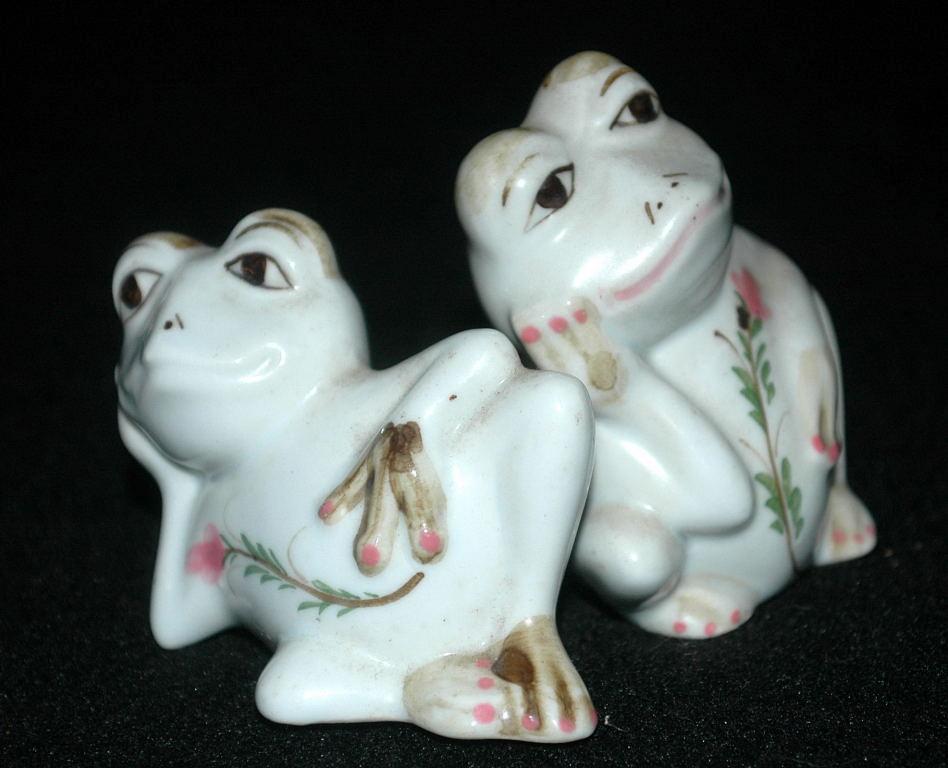 Resting Frogs Porcelain Salt & Pepper Shakers