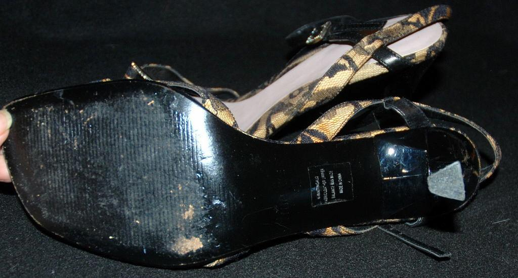 Black Lace Over Leather / White Rhinestone High Heal Slingback Open Toe Sandals, Woman's Shoe Nine West/ size 9 m