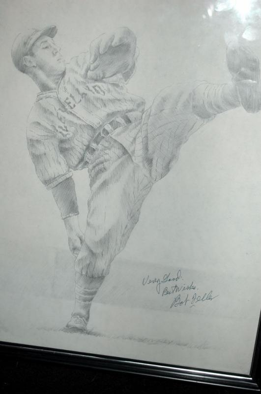 Bob Feller Autographed Pencil Drawing, Hall of Fame Pitcher for Cleveland Indians One of Kind Item