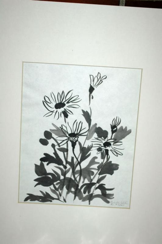 Original Watercolor  Painting Black on White Abstract Leaves
