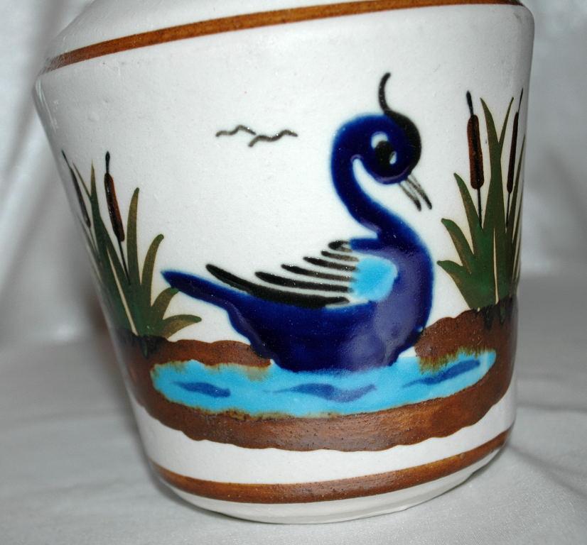 Old  Mexican Tonala  Stoneware Enamel  Pottery Vase with swan motif
