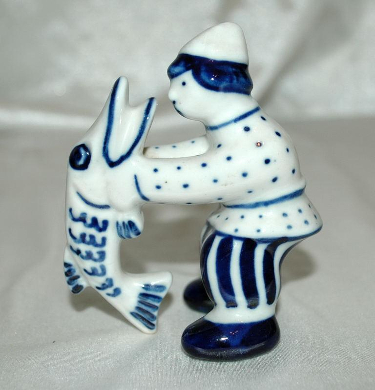 GZHEL Russian Blue USSR  White Porcelain Man with Pike Fish