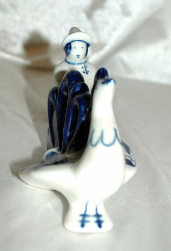 GZHEL USSR Russian Blue   White  Porcelain  Running Man with  Rooster Old Russian Folk Tale