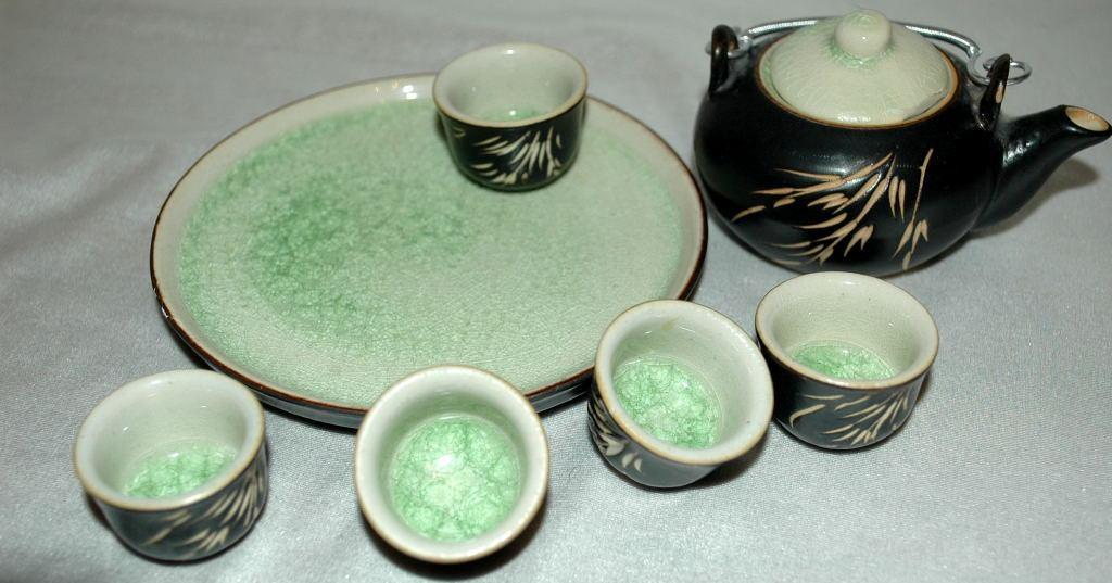 Japanese Children's Tea Set   Etched Pottery