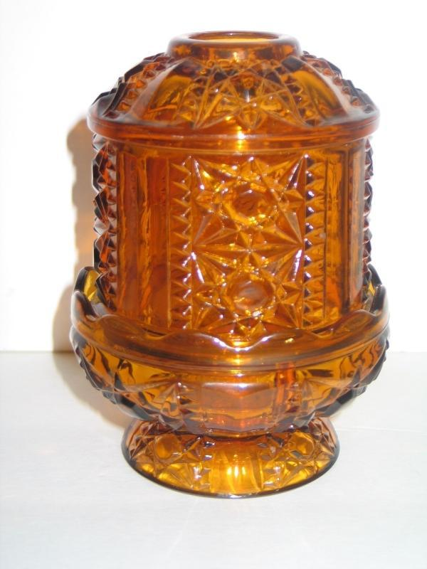 Vintage 1960s / Indiana Glass Amber Fairy Lamp / Stars and Bars Pattern / 2 piece fairy lamp