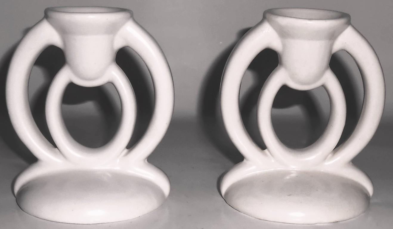 Bauer Pottery Candesticks  Matte White