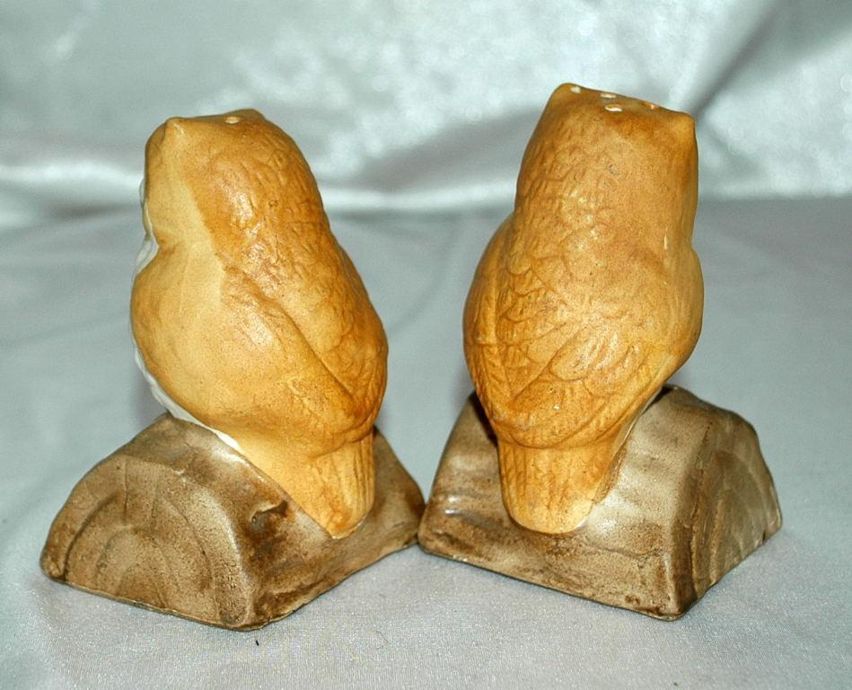 Cute Owl Salt and Pepper Shakers Bisque