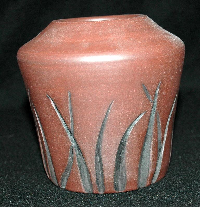 Black Mountian Pottery Vase  SToneware Red Clay with Carved Details