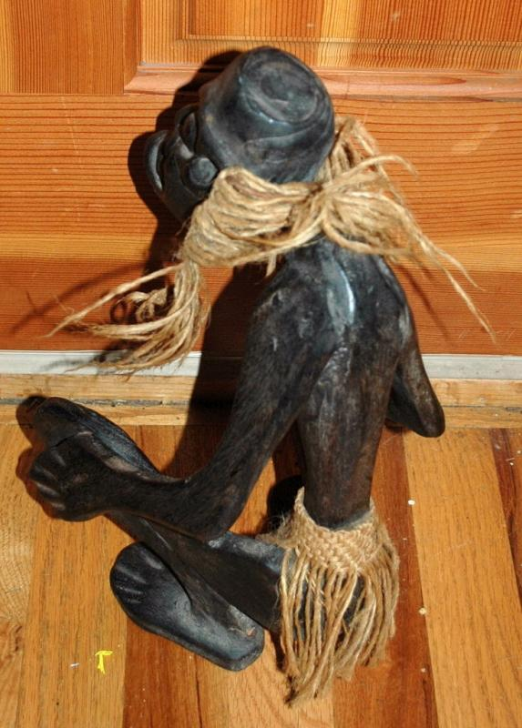 African Wood Carving , Crouching Man
