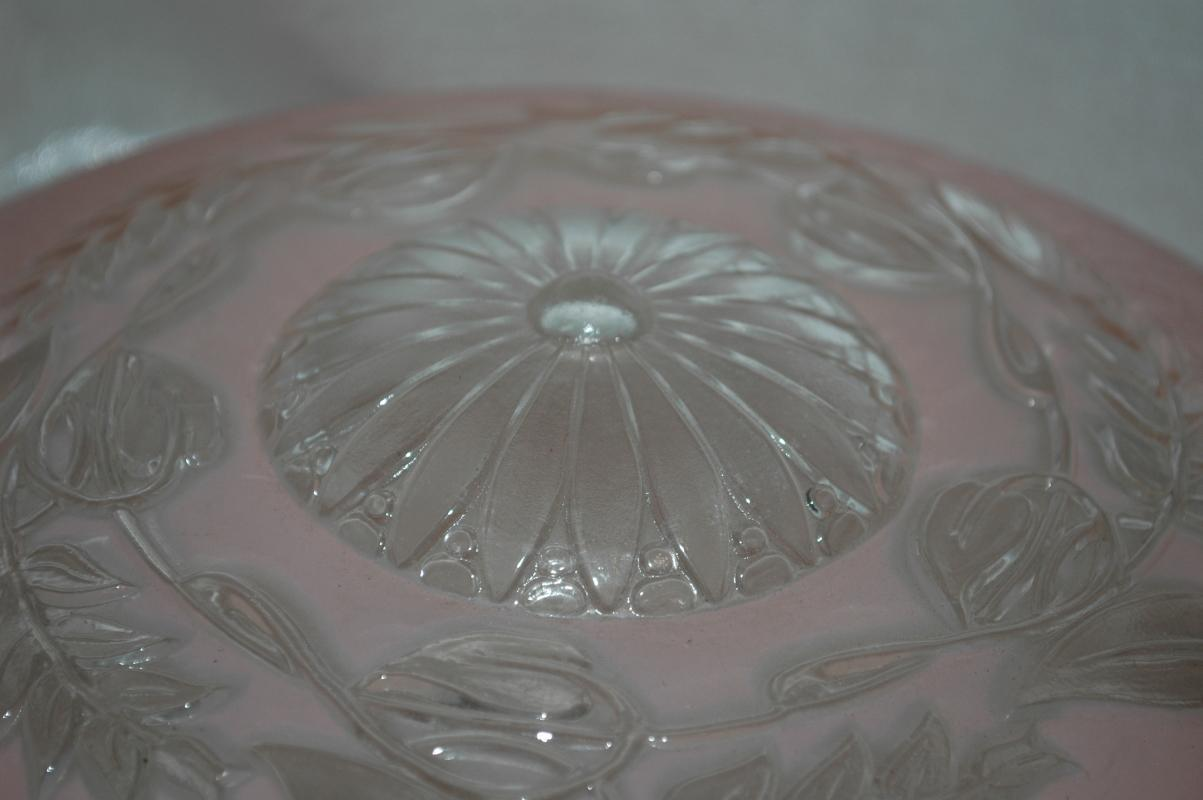 VINTAGE  Frosted  Pink and Crystal Clear 3-CHAIN ART DECO GLASS  CEILING LIGHT FIXTURE