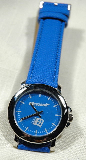 Blue Dial Microsoft Watch on blue leather band
