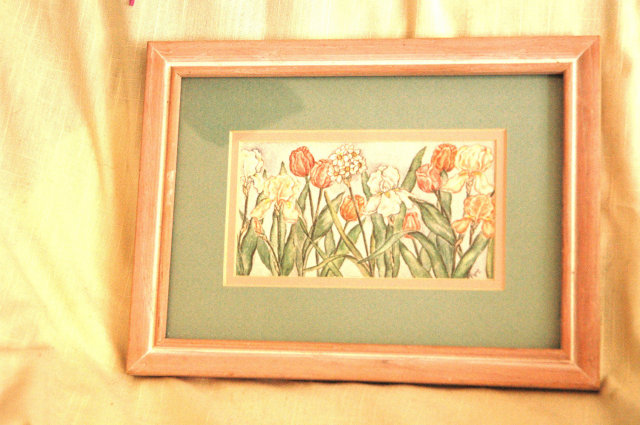 Nice Framed  & Matted Tulip and Iris Print