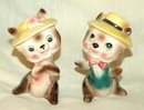 Cute hat wearing  boy /girl in love kitty cat salt and pepper shakers