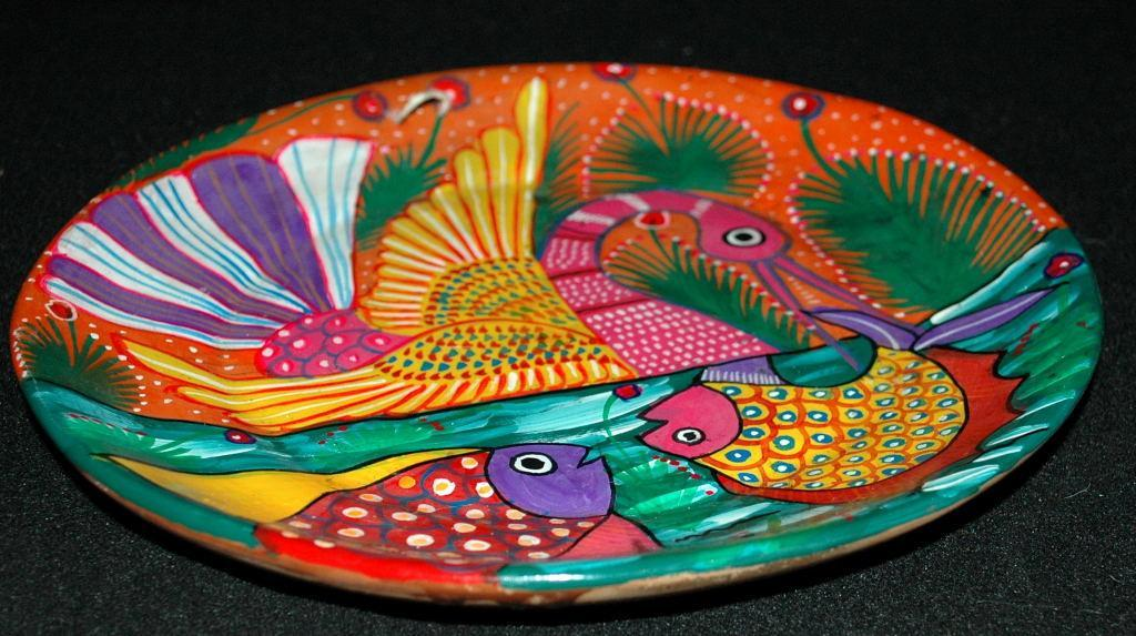 Mexican Talavera  Pottery  Story Plate with Hand Painted Swan Fish Design  -Story Plate