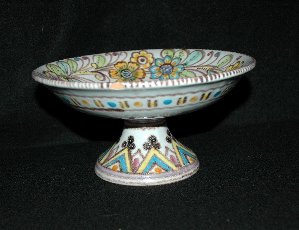 VINCENZO PINTO VIETRE Hand painted  Majolica Compote, 19th Century Italian