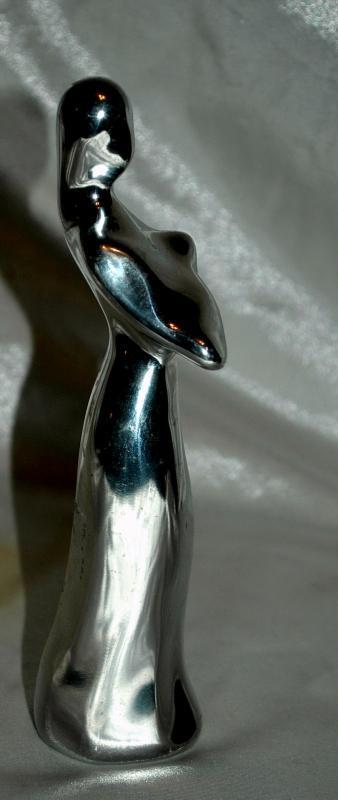 Hoselton Art Polished Aluminum Sculpture Mother holding Baby , Rare