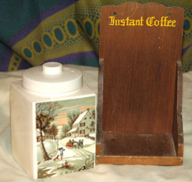 Instant coffee shelf with Currier & Ives Transfer on  Porc. Jar
