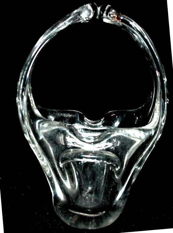 Murano Hand Blown Crystal Clear Glass Basket