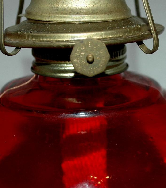 2 P&A Risdon Ruby Red Glass Oil Lamps  Mid Century